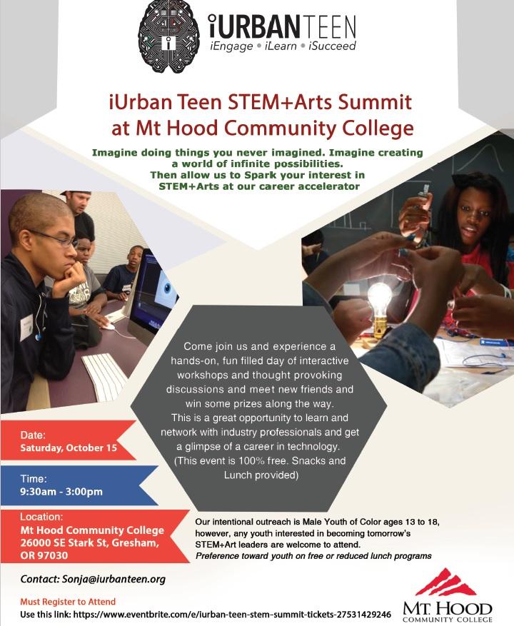 Stem Programs For Teens: IUrban Teen STEM Summit @ MT Hood Community College